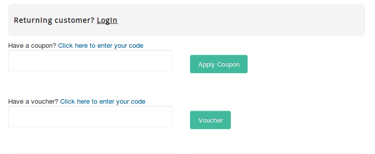 Easy checkout coupons and vouchers form