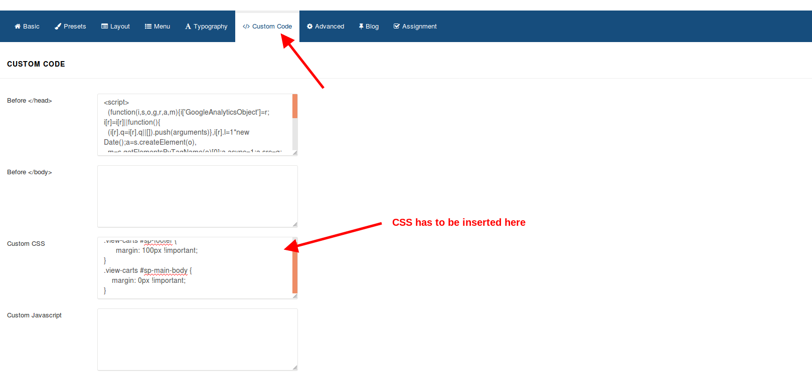 Custom code section where css can be added