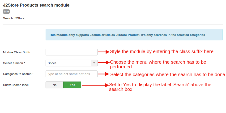 Product search module backend settings