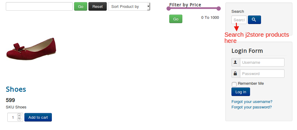 Product search module frontend