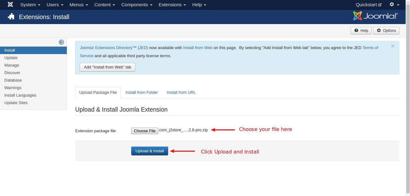Quickstart-J2Store-install