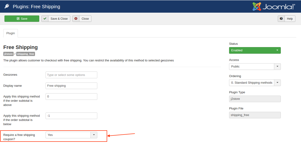 Enabling the free shipping coupon option in shipping plugin