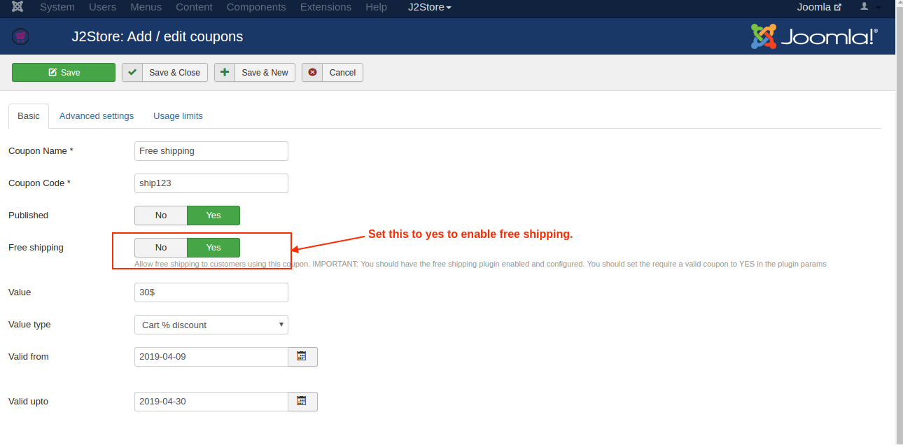 Enabling free shipping option in coupons