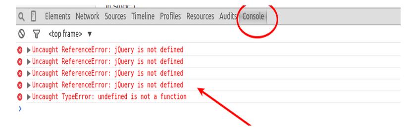 developer tool console