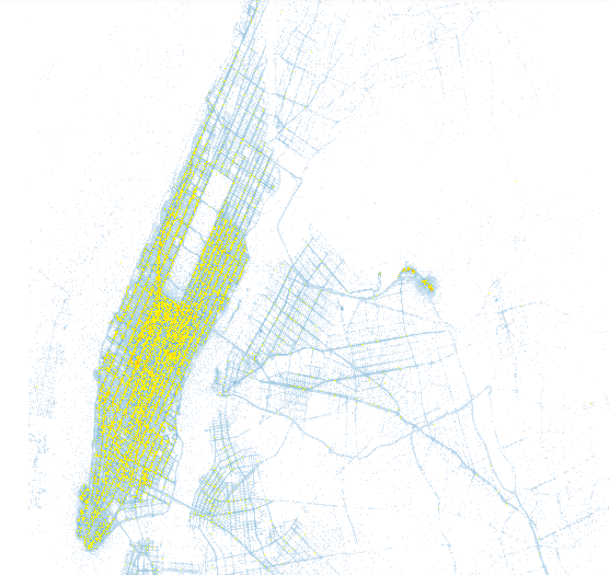 An image showing a subset of pickup locations of New York City yellow taxis during January 2015