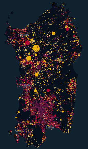 An image showing the fires in Sardinia from 2005 to 2016