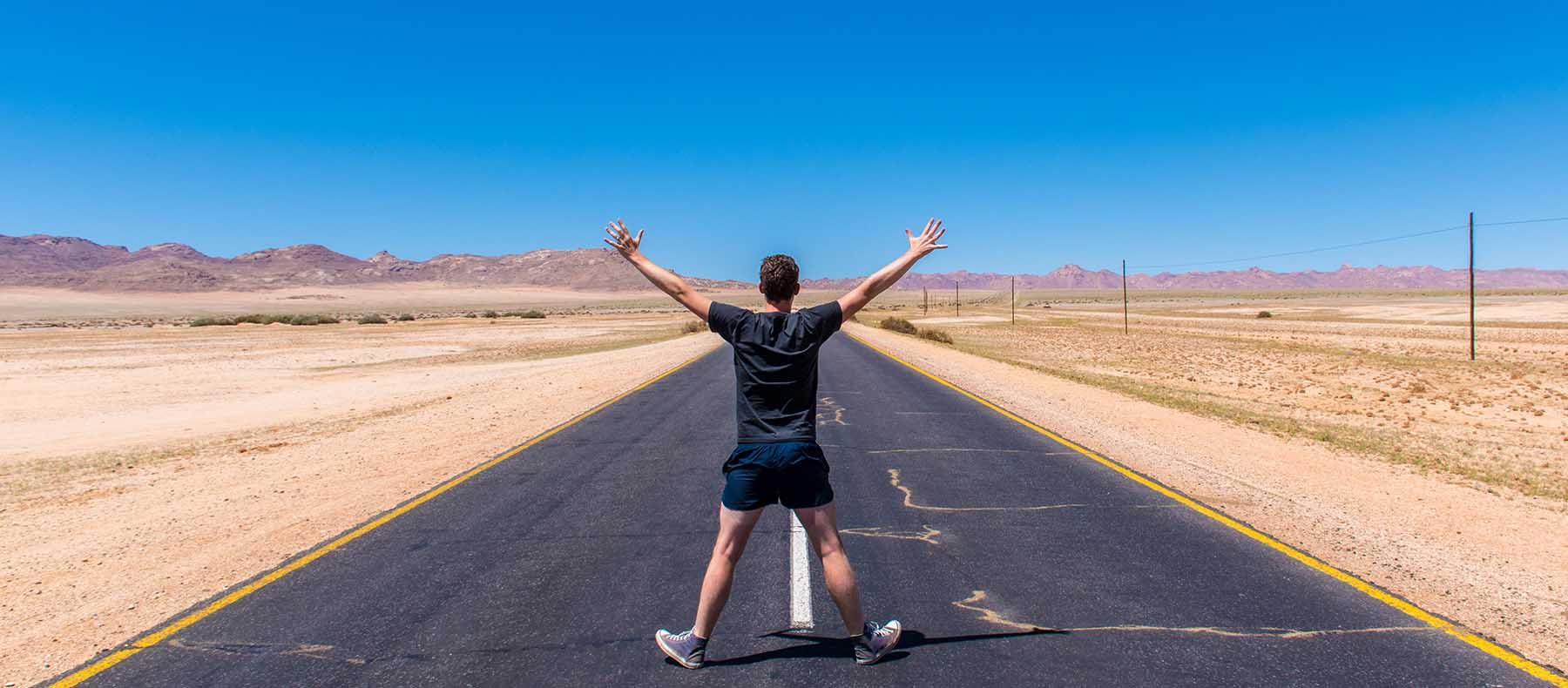 me (Jackson) on the road between Luderitz and Garub in Namibia