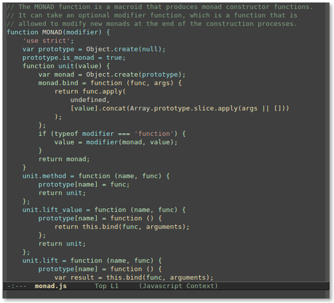 Screenshot of context coloring in Emacs.