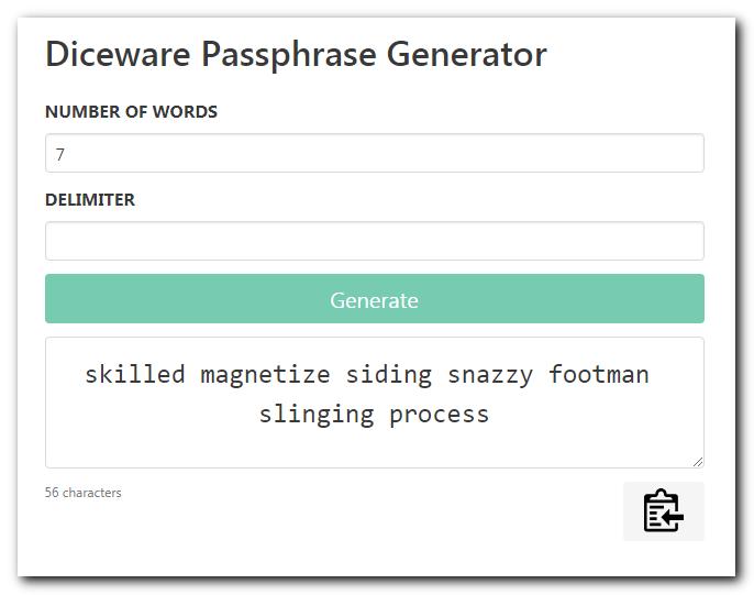 Diceware Passphrase Generator