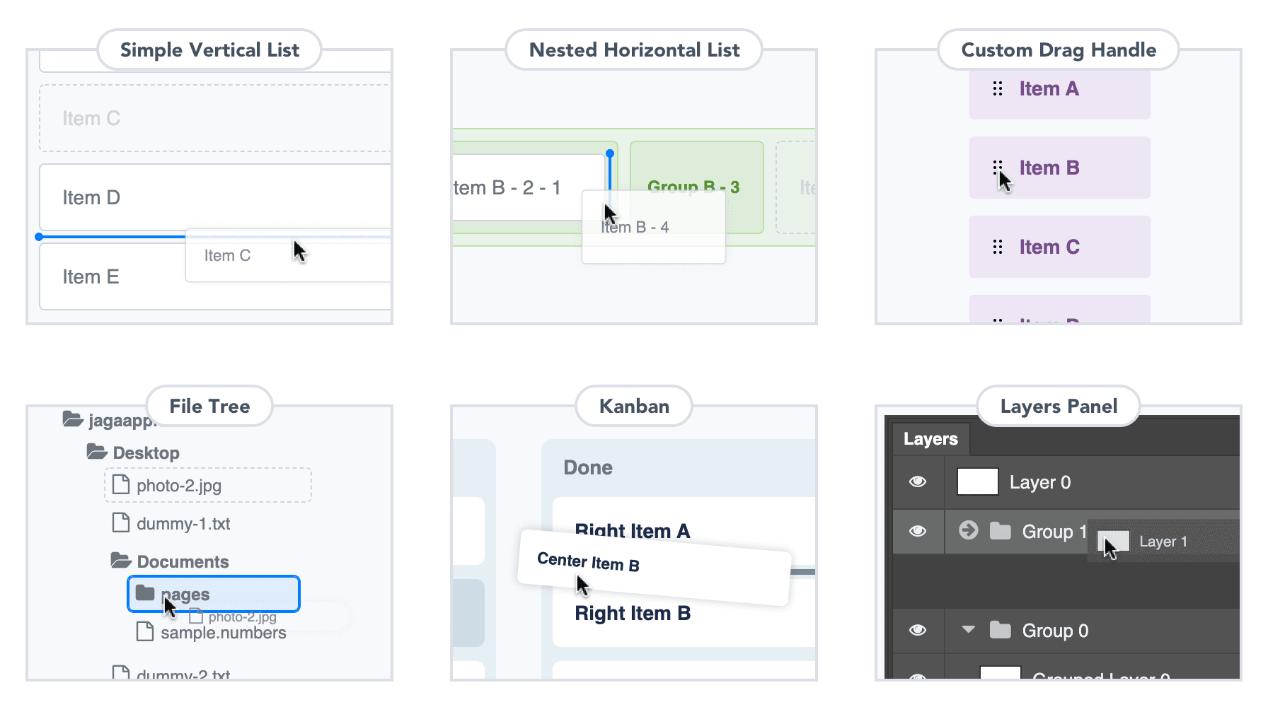 Simple Vertical List, Nested Horizontal List, File Tree, Kanban, and Layers Panel