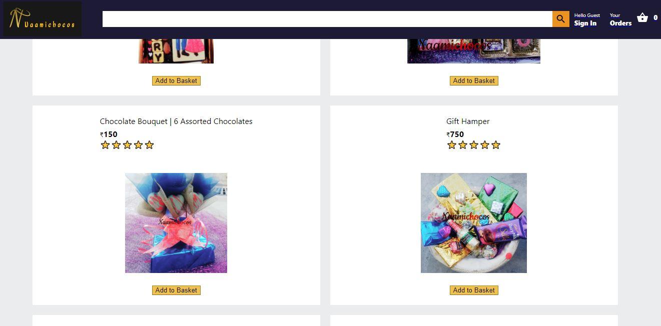 Naami Chocos Homepage Screenshot