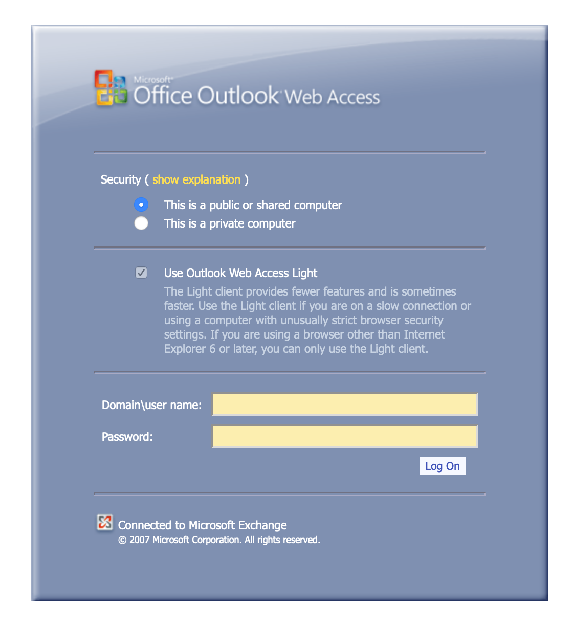 Example: OWA for Exchange 2007