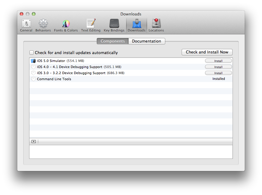 Installing Command Line Tools from XCode Preferences
