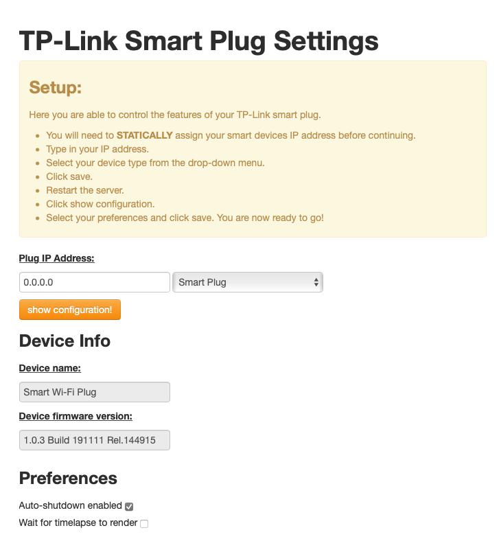 Smart plug settings