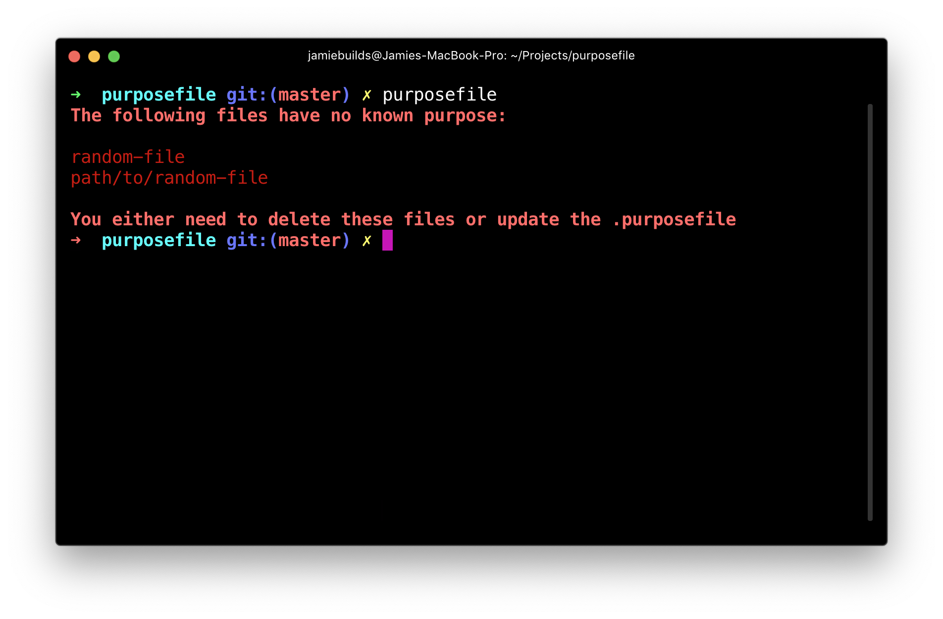 Example output of purposefile when there are unknown files
