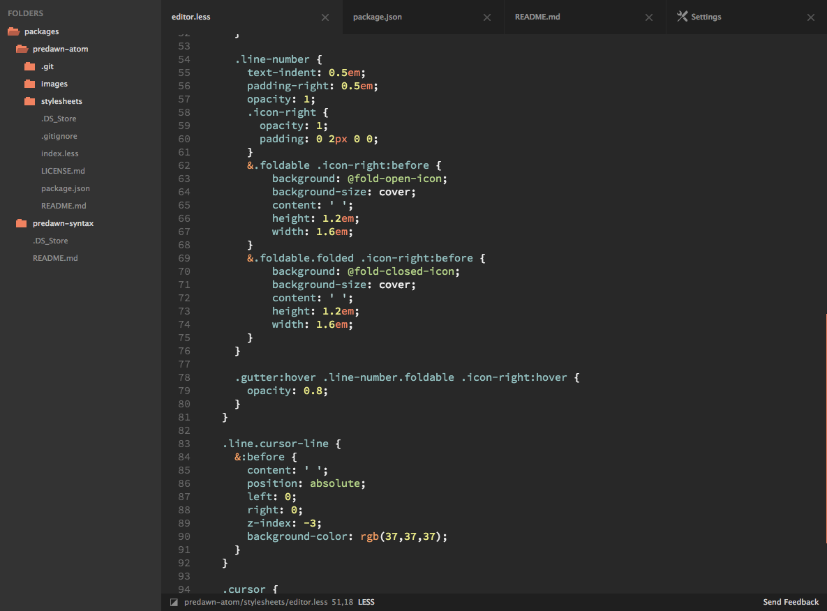 Predawn UI and Syntax Themes