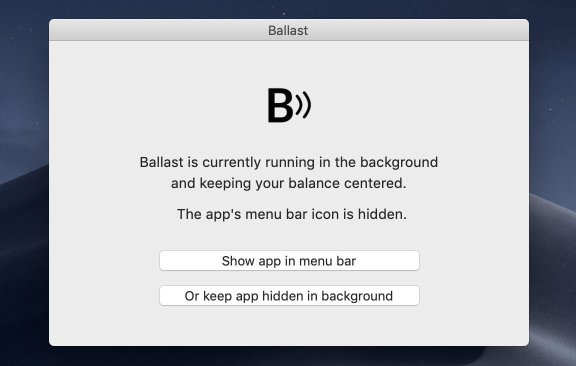 Ballast App Open