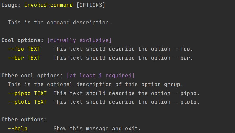 Basic example --help screenshot
