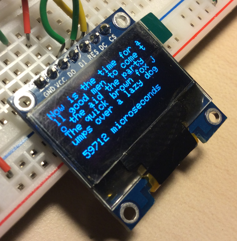 OLED connected to Arduino