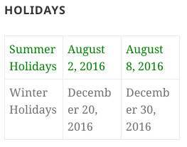 Holidays Widget in table view