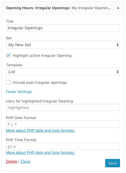 Irregular Openings Widget options