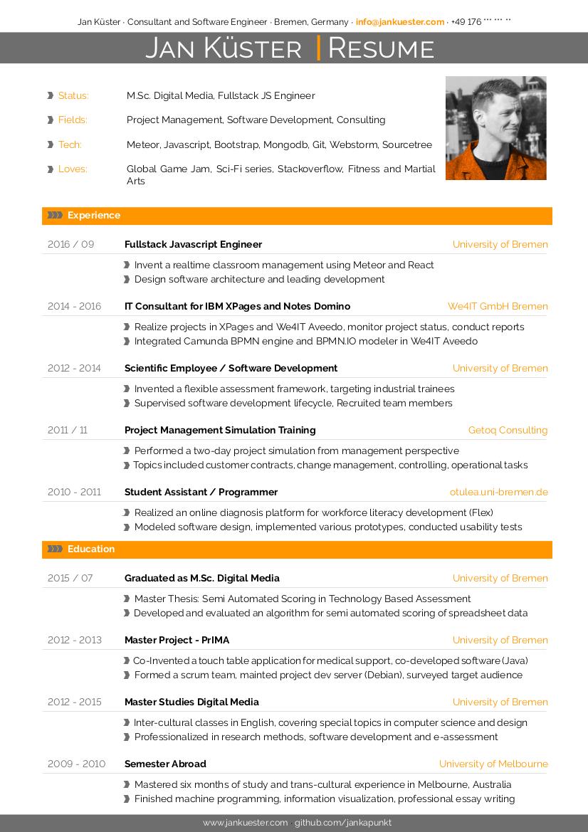 Modern CV example preview