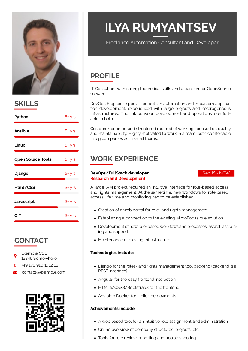 Left sidebar CV example preview