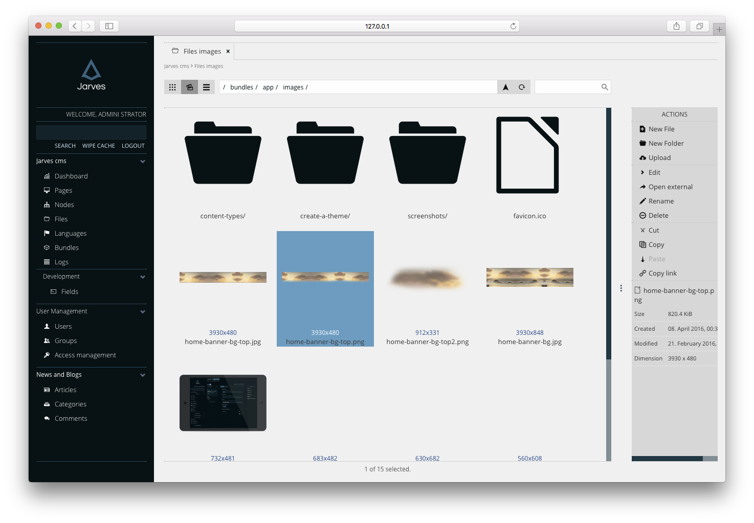 Administration File manager Images