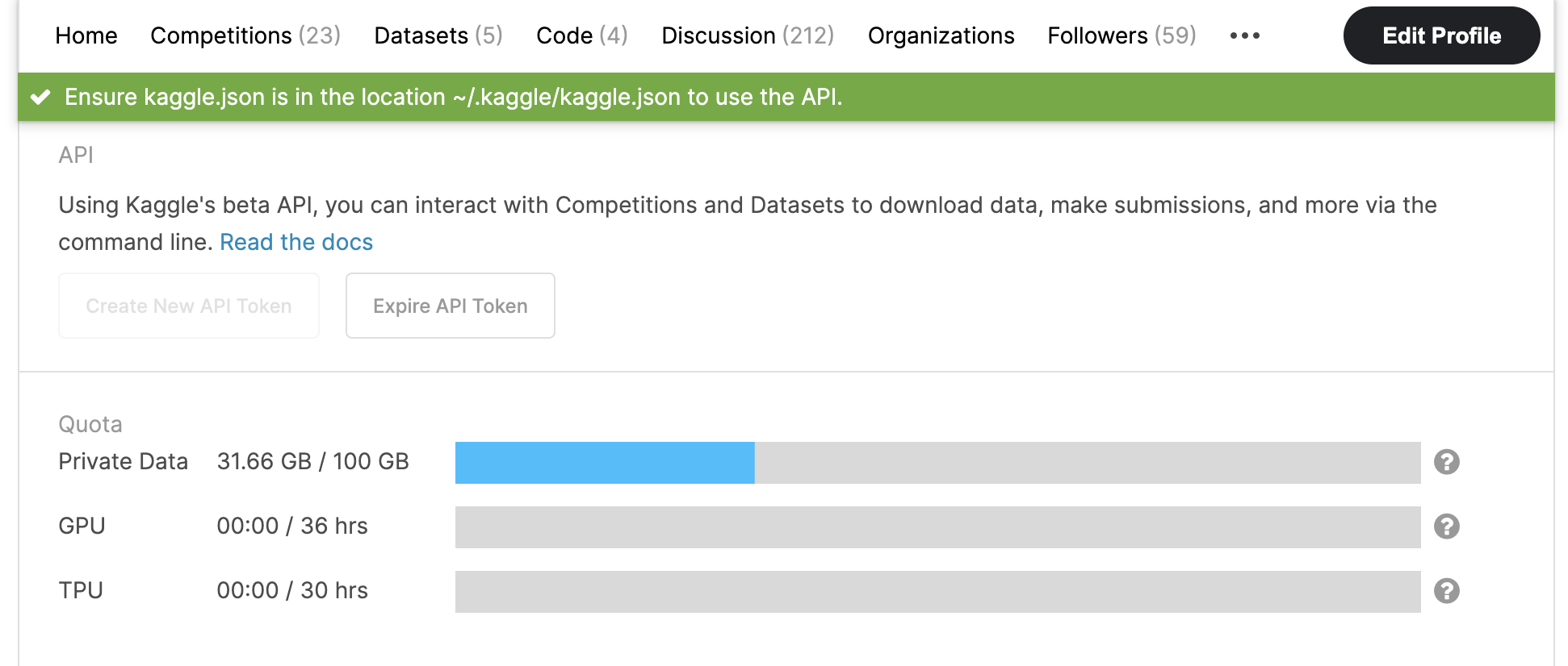 Download kaggle.json