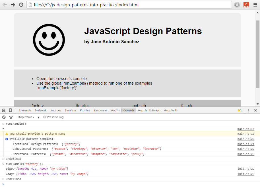 GitHub - jasancheg/js-design-patterns-into-practice: code example of ...