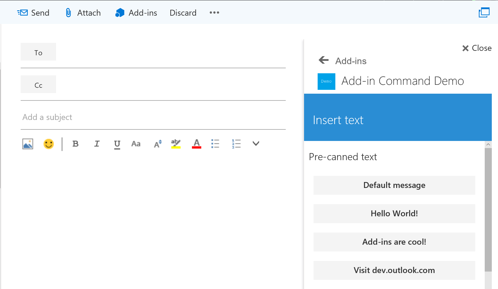 Office dev center add in command demo outlook add in the add in loaded in outlook on the webs compose mail form xflitez Image collections