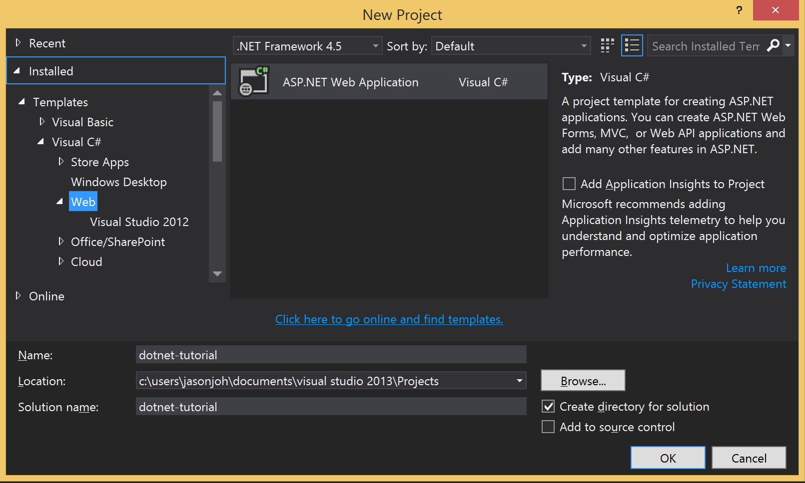 The Visual Studio New Project window.