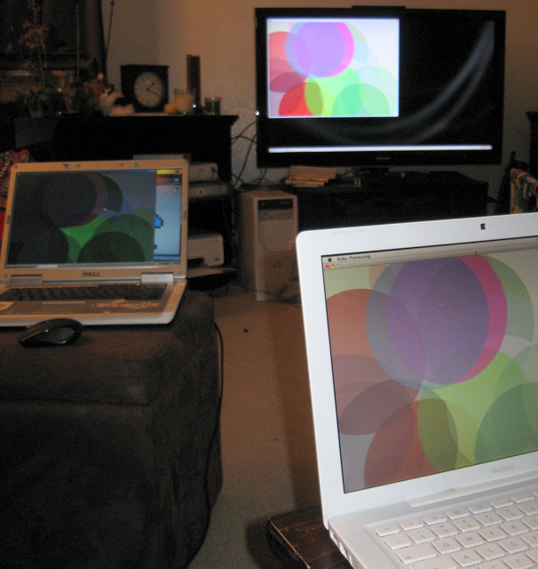 OS X, Windows, and Linux machines, all displaying the same sketch via DRb-Processing