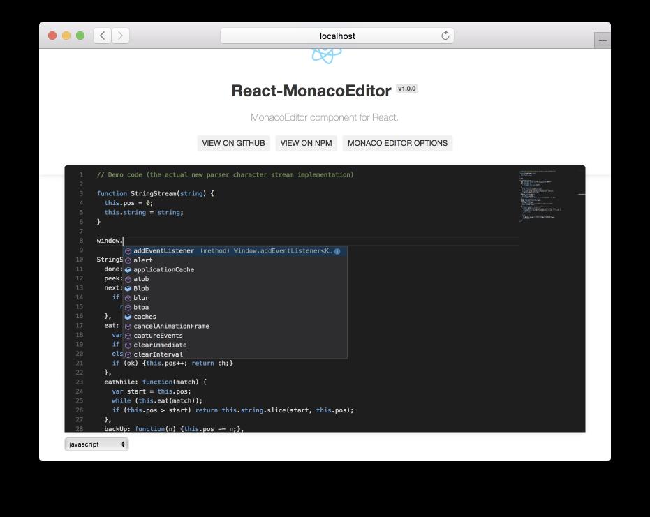 GitHub - jaywcjlove/react-monacoeditor: Monaco Editor