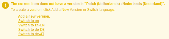 Example of version not found with language switch