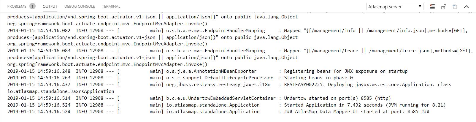 AtlasMap Server output