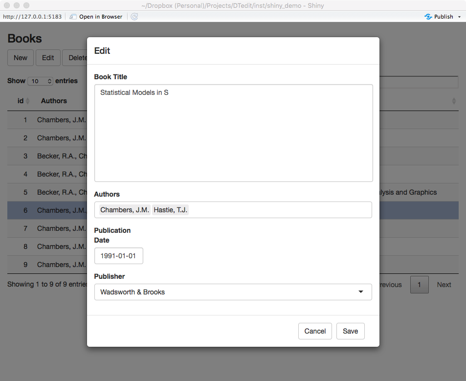 Editable DataTables for Shiny Applications | Jason Bryer