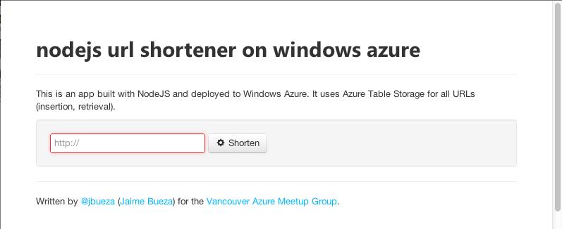Screenshot of NodeJS URL Shortener on Windows Azure