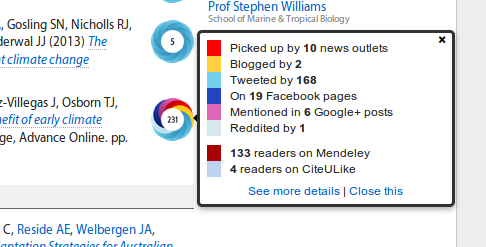 Altmetric badges on a profile page