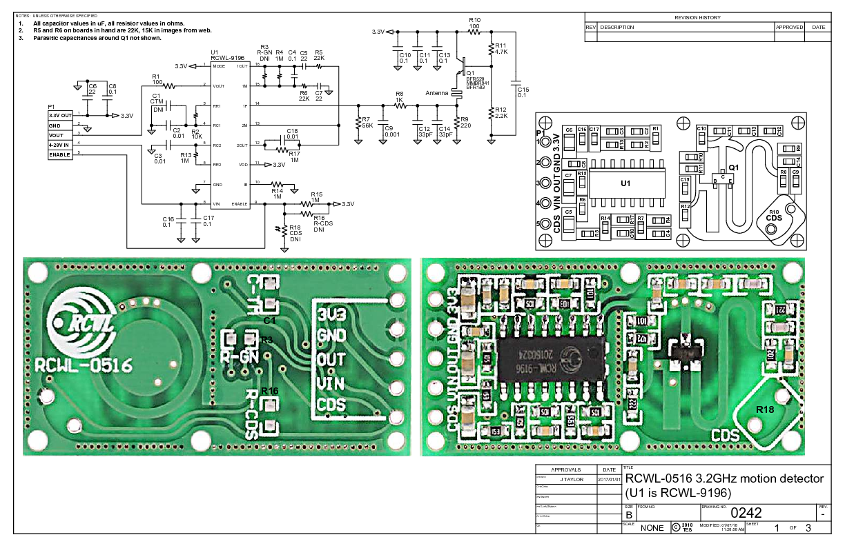RCWL-0516 schematic provided by John Taylor, page 1