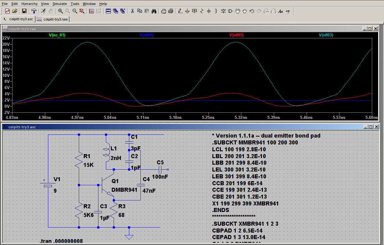 Colpitt oscillator simulation running at about 3GHz
