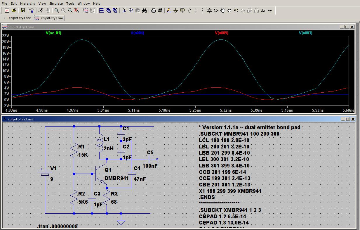 Colpitt oscillator simulation running at about 3GHz