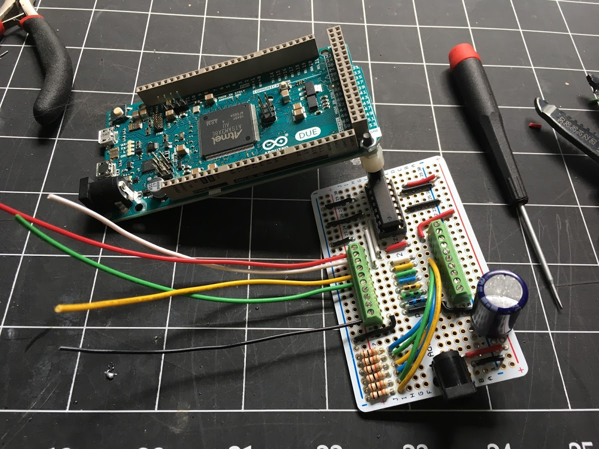 Arduino Due attached to the interface board with wires installed