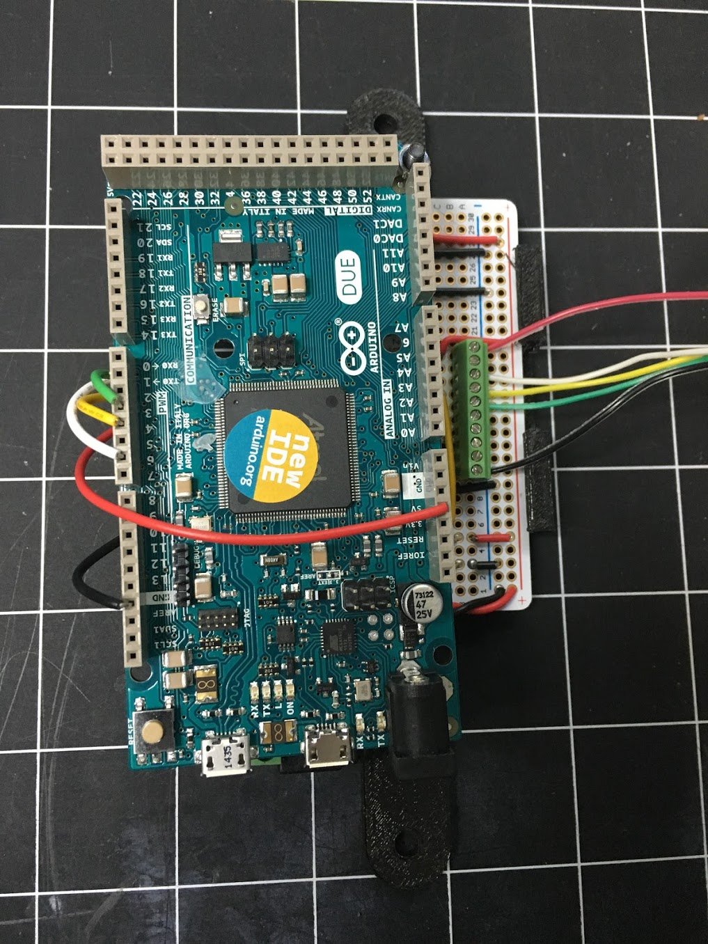 Arduino Due with wires installed in the headers
