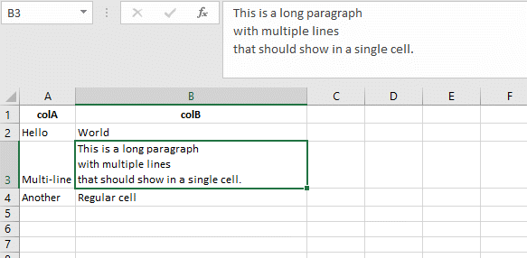 Example of Excel showing multi-line cell