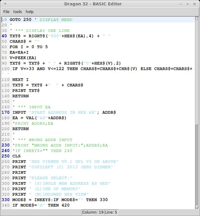 screenshot BASIC Editor