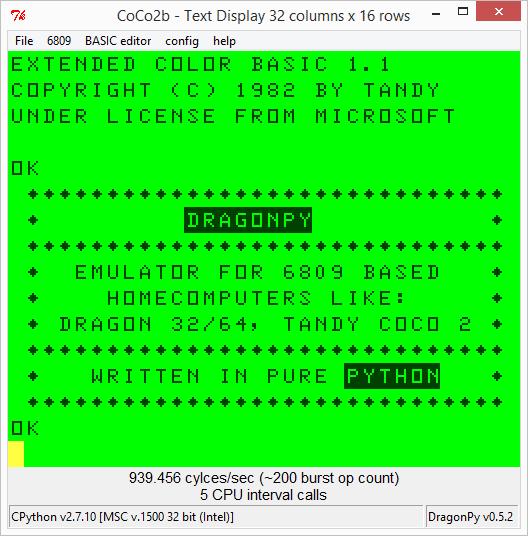 screenshot CoCo under Windows
