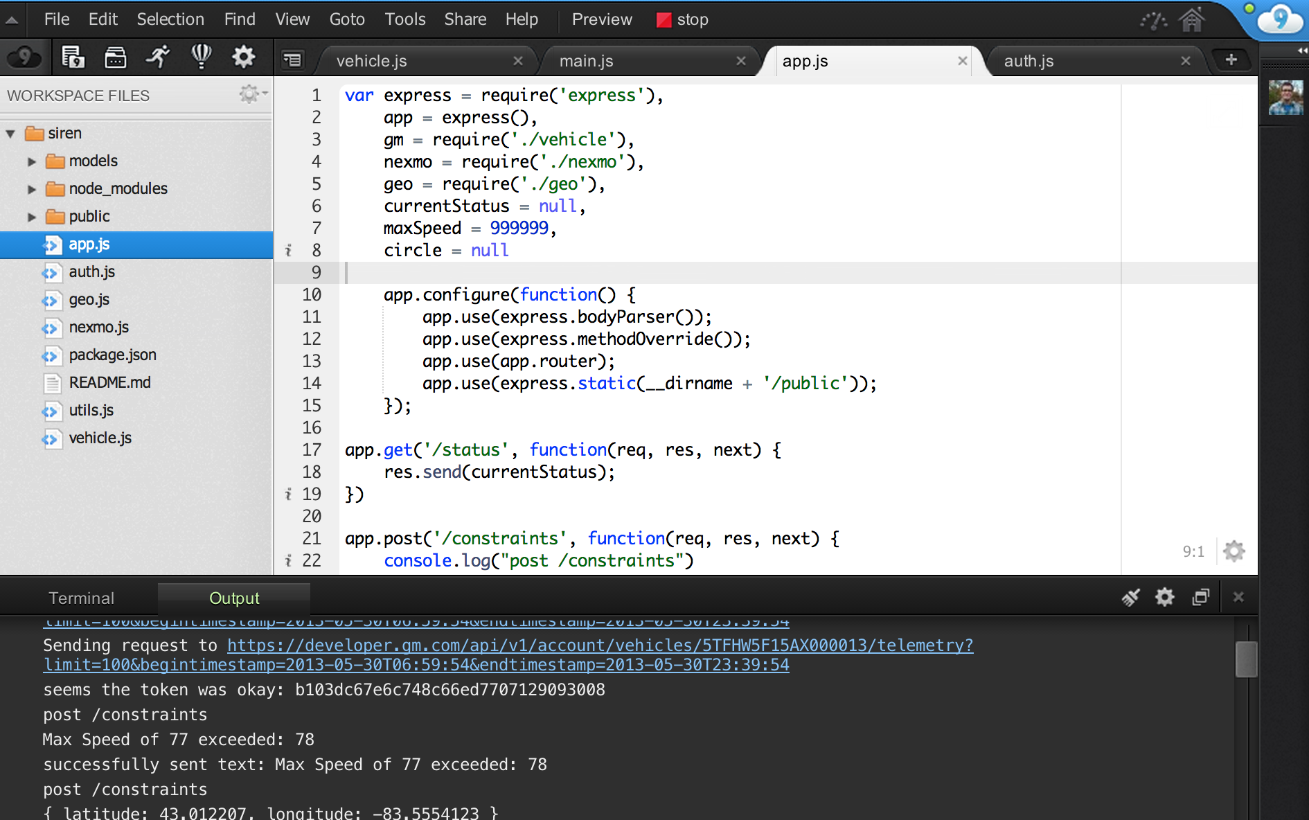 Screenshot of Cloud 9 IDE Dashboard