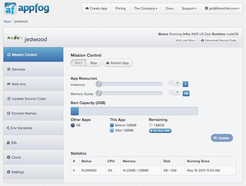 AppFog dashboard