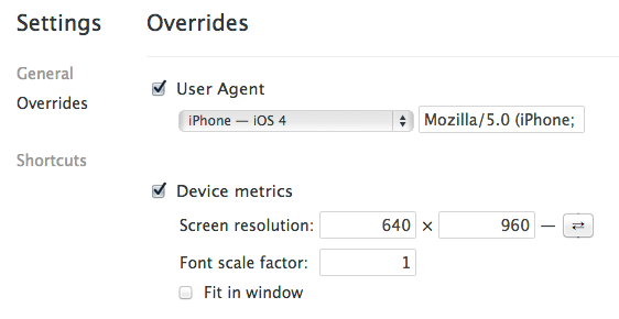 Browser web inspector settings to fake iPhone